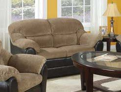 Acme 15946 Connell Polyurethane and Corduroy Loveseat - Espresso Finish - Brown