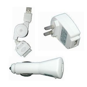 USB Travel Kit with Car Charger, Travel Adapter & Cable for Apple iPod