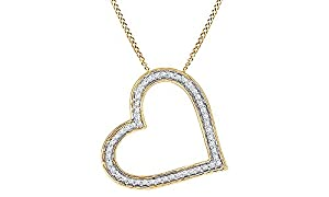 Round White Natural Diamond Heart Pendant in 14k Yellow Gold Over Sterling Silver (1/6 cttw)