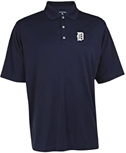 Detroit Tigers MLB Exceed Mens Polo (Navy) by Antigua