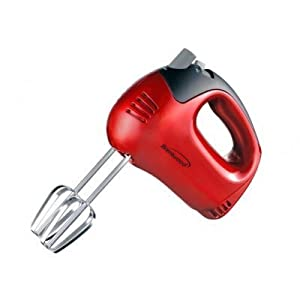 5-Speed Hand Mixer Color: Red by Brentwood