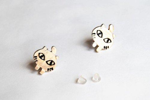 JC124 Nette Ohrringe , Karikatur Groß Auge Katze Form Ohrringe , Entzückende Katze Ohrringe