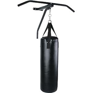 Barre de traction avec sac de frappe acier - sac de boxe en simili cuir