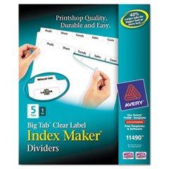 ** Index Maker with Big Tab, 11x8-1/2, 5-Tab, White