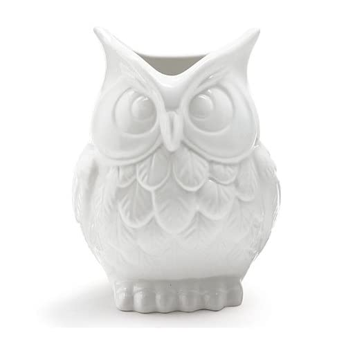 White Ceramic Owl Vase Decorative Vase For