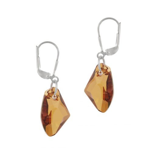 Sterling Silver Copper Swarovski Elements Freeform Drop Lever Back Earrings