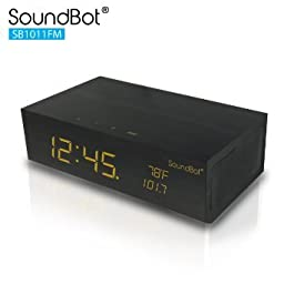 SoundBot® SB1011 8-in-1 Multi-Function Station w/ FM RADIO Tuner, Wireless Bluetooth, Stereo Audio Speaker, Built-In Mic, Alarm Clock, Thermometer, 2.1A Charging Port, 3.5mm Line-In, and LED Display