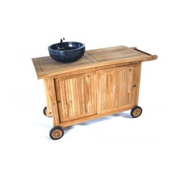 Pas cher meuble cuisine ext rieur en teck vasque for Meuble cuisine pas cher en ligne