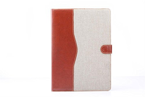 Apple Ipad Air 2 Case Borch Fashion Luxury Multi-Function Protective Double Color Denim Leather Light-Weight Folding Flip Smart Case Cover For For Ipad Air 2 (White)