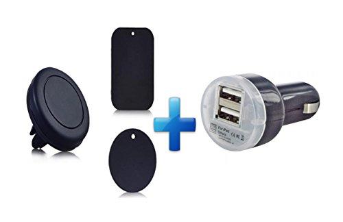 Support téléphone Voiture Universel Magnétique Grille d'aération pour iPhone 5/5s 6/6s et tous les autres smartphones + Chargeur allume cigare double USB