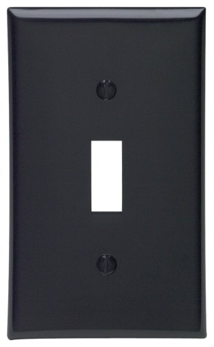 Leviton 80701-E 1-Gang Toggle Device Switch Wallplate, Standard Size, Thermoplastic Nylon, Device Mount, Black