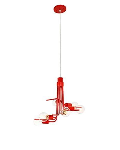 Varaluz Socket-to-Me 6-Light Chandelier, Radioactive Tangerine