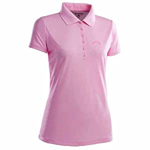 San Diego Chargers Ladies Pique Xtra Lite Polo Shirt (Pink) by Antigua