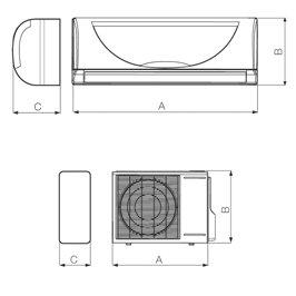 Vortice climatizzatore condizionatore 65429 completo di unità esterna 65416 - kit dual 65416 unità esterna 9 12 btu + 65429 unità interna 12 btu