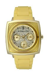 BCBGMAXAZRIA Sport Collection Elite Yellow Silicone Silver Dial Women's watch #BG8231