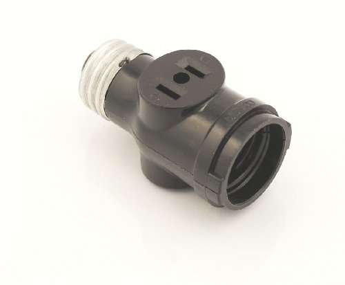 Leviton 1403 Two Outlet Socket Adapter, Black (Outlet Light Bulb Adapter compare prices)