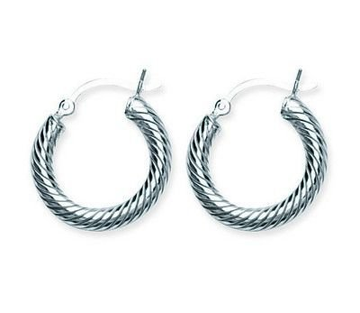 Sterling Silver Rope Rhodium Hoop Earrings 3/4 inch diameter