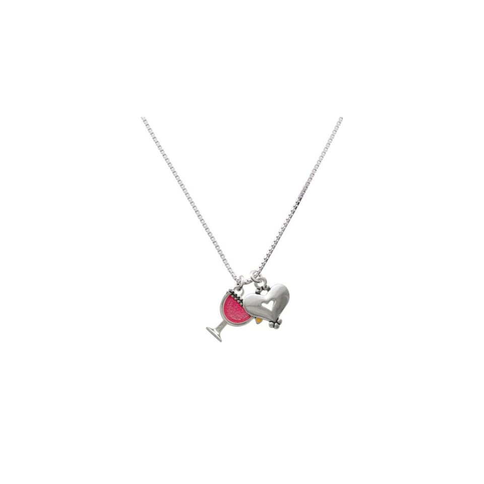Tropical Drink   Hot Pink and Silver Heart Charm Necklace [Jewelry]