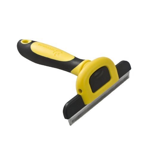 MIU COLOR® Pet Deshedding Tool & Grooming Tool for Small, Medium & Large Dogs + Cats, with Short Hair and Long Hair Dogs & Cats, Reduces Shedding By Up To 90% (Yellow)