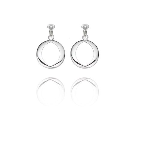 Basics Silver Plated Cut Out Disc Clip On Earrings