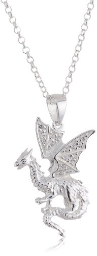 VINANI German 925 Sterling Silver Women Pendant Dragon with white Zirconia & Cable Link Chain Necklace 20″ ADW-T50