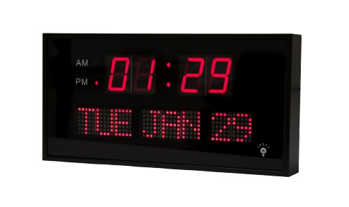 Big oversized led calendar clock with day and date - now with 2 position dimmer - shelf or wall mount by metro fulfillment house (11.75 in red)