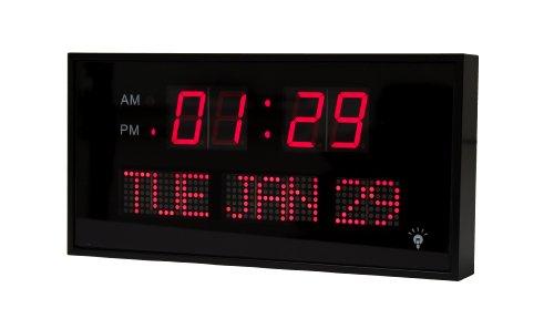 Ehealthsource Big Oversized Digital Led Calendar Clock, 11 3/4-Inch