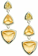 Woman by Katie Rowland Sterling Silver Citrine Gem Drop Earrings