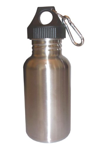 Silver 18oz Wide Mouth Stainless Steel Reusable Water Bottle w/ Hiking Clip