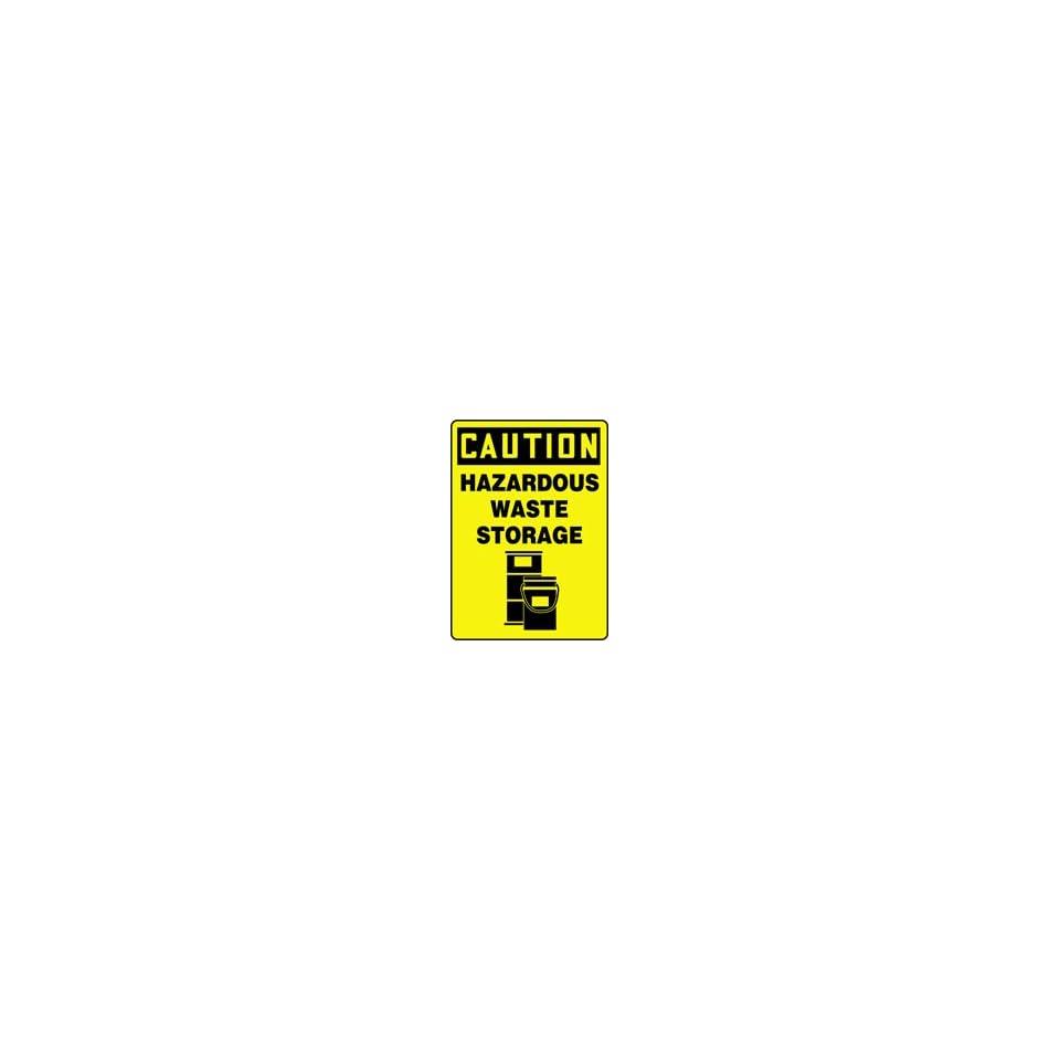 CAUTION HAZARDOUS WASTE STORAGE (W/GRAPHIC) 14 x 10 Plastic Sign
