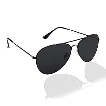 PURECITY© - Lunettes de soleil style aviateur fbi pilote retro vintage 80's Homme Femme - Monture noir verre noir - Tendance fashion