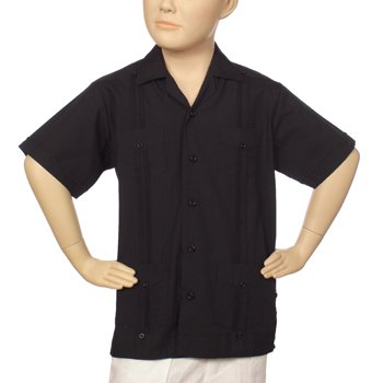 Boys poly-cotton guayabera in black. Short sleeve
