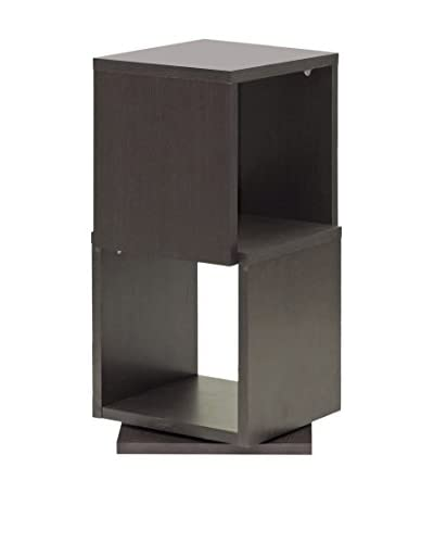 Baxton Studio Ogden 2-Level Rotating Bookshelf, Espresso