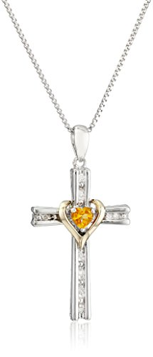 Sterling Silver and 14k Gold Citrine Heart and Diamond-Accent Cross Pendant Necklace, 18""