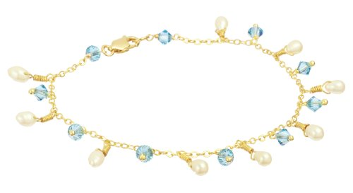 "Gold Plated Sterling Silver 7.5"" Chain Bracelet with White Freshwater Rice Pearl and Crystallized Swarovski Elements Bicone Aqua Color Drops"