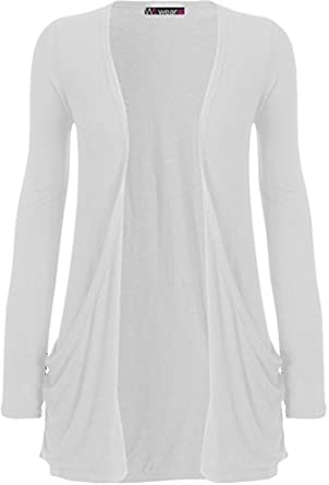 "WearAll - ""pocket"" cardigan à manches longues - Hauts - Femme - Blanc - 36-38"