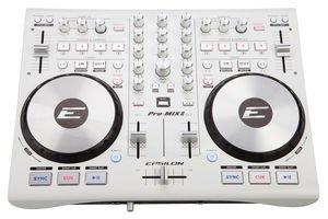 Epsilon Pro-Mix2 (White) Ultra-compact 2-Deck Professional MIDI/USB DJ Controller from Epsilon
