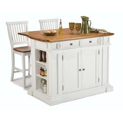Cheap Home Styles 5002-948 Kitchen Island and Stools, White and Distressed Oak Finish (5002-948)