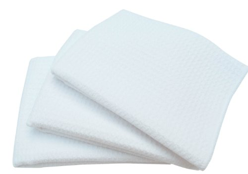 Sinland 16 Inch X 24 Inch Microfiber Waffle Weave Drying Dish Cloths Kitchen Towel Facial Cloth Washcloth (Pack Of 3,White)