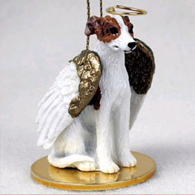 Whippet Angel Dog Ornament - Brindle & White