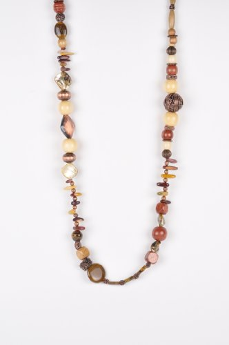 Long Beaded Necklace in Earth Tones Handmade in Africa
