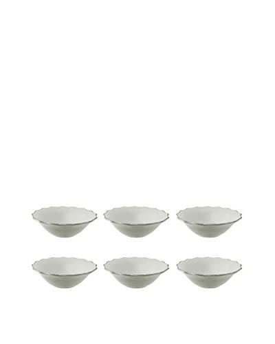 10 Strawberry Street Set of 6 Oxford Salad Bowls, Cream