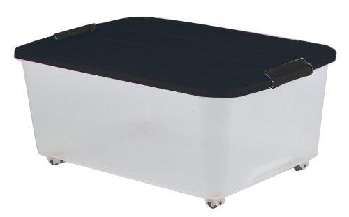 iris iris 101334 0 aufbewahrungsbox ordnungssystem mit handel und rollen kunststoffbox mit deckel. Black Bedroom Furniture Sets. Home Design Ideas