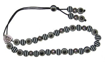 Evil Eye Worry Beads - Black & Grey with Stripes