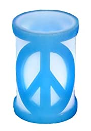 Blue 4x6 Carved LED Candle with Peace Sign