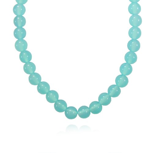 8mm Round Sea Blue Chalcedony Bead Necklace, 60