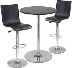 3pc Pub Table Set: 28 Round Table with 2 L-Shape Airlift Stools By Winsome Furniture