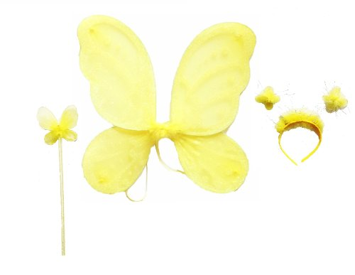 LolaSaturdays 3 Pc Set Yellow Fairy Princess Butterfly Angel Costume Dress-up Wings (2)
