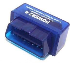 Goliton® Super Mini OBD II Power2-Voiture Bluetooth lecteur de code compatible avec Android / Droid / Torque-bleu