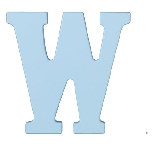8-Inch Wall Hanging Wood Letter W Sky - 1